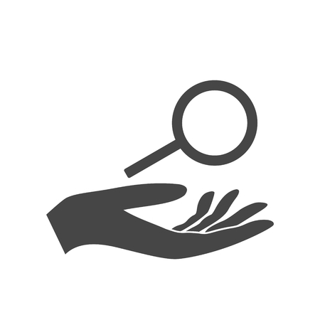 Illustration of an isolated hand giving a magnifier
