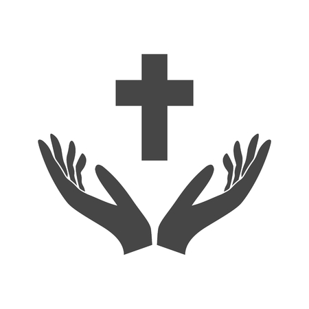 Illustration of two hands offering a christian cross, Hands holding cross