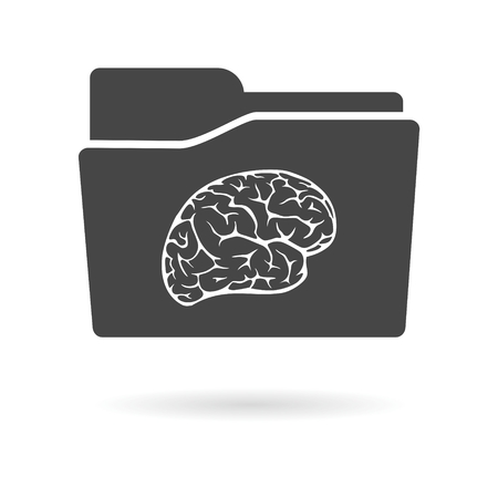 mental object: Isolated file folder icon with a brain Illustration