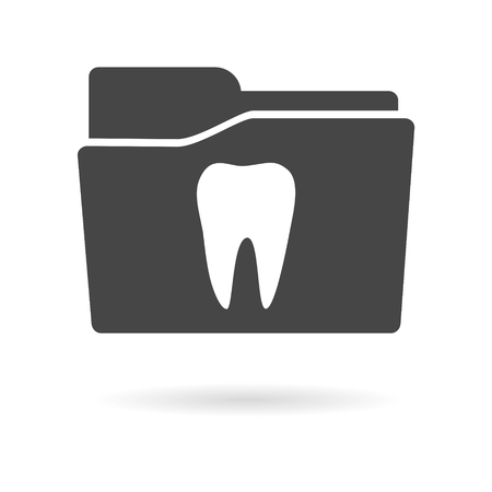 Isolated file folder icon with a tooth