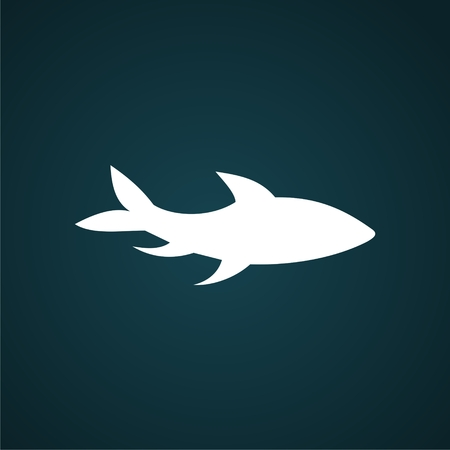 Fish isolated on blue background. Logo or label design element. Vector illustration Illustration
