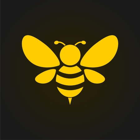 Vector golden bee icon on black background. Abstract bee silhouette Vectores