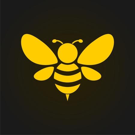 Wektor Złota Pszczoła ikony na czarnym tle. Streszczenie sylwetka pszczeli Ilustracje wektorowe