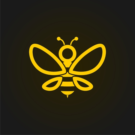 Vector golden bee icon on black background. Abstract bee silhouette Vettoriali