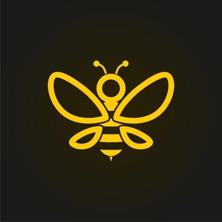 Wektorowa złota pszczoły ikona na czarnym tle. Streszczenie sylwetka pszczoły