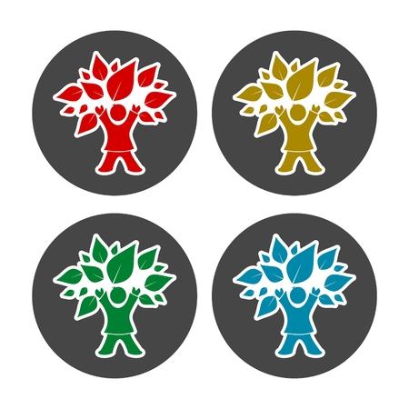 tree: Child Tree icon set Illustration