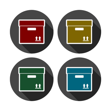 shipped: Box icon, Carton Package Box icon