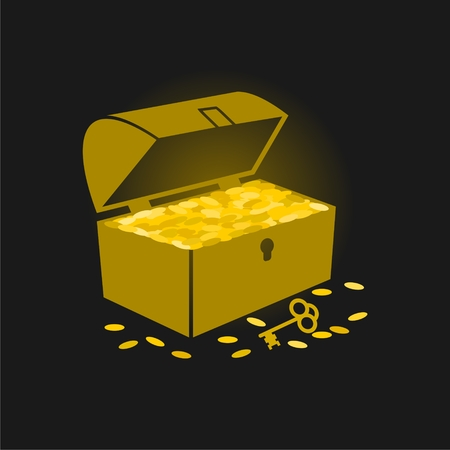tare: Treasure chest with golden coins flat icon