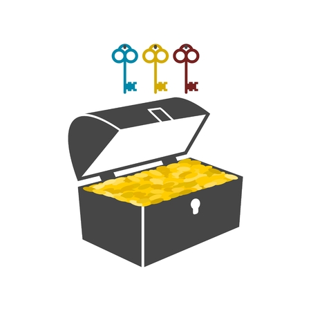 golden coins: Treasure chest with golden coins flat icon