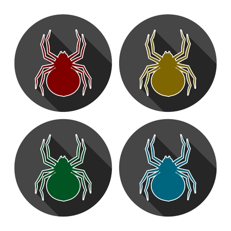 Set of silhouette spider icon