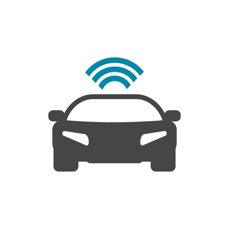 Die Connected Car. Smart-Auto-Symbol mit Wireless-Konnektivität Symbol