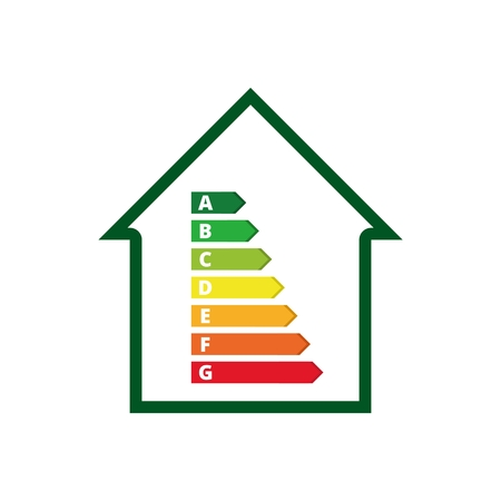 Huisvesting energie-efficiëntie, House en energie-efficiëntie-concept