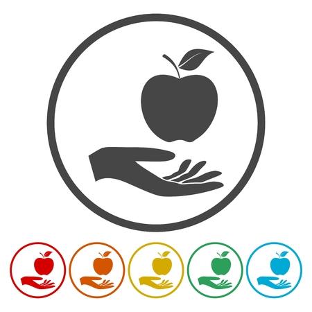 adam eve: Illustration of a hand offering apple