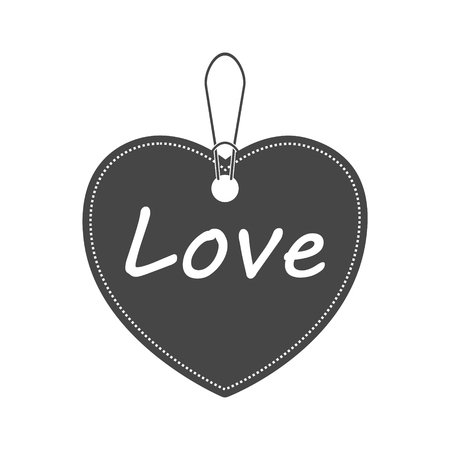 Heart symbol with love word. Bargain icon. Vector illustration