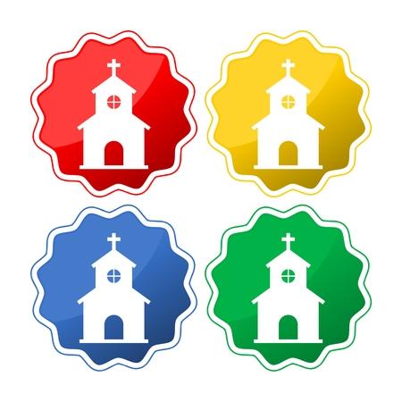pastor: Vector church icon set Illustration