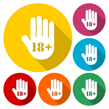 Age limit button, Stop hand icon Illustration