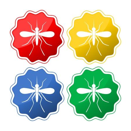 Set of mosquito silhouettes button icon