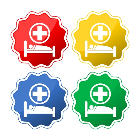 Hospital bed and cross, vector icon Illustration