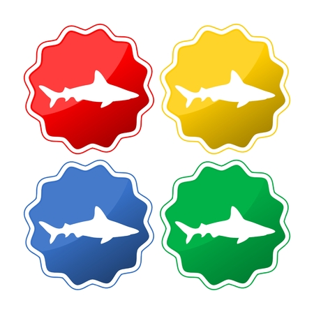 Collection of sharks isolated on white Illustration
