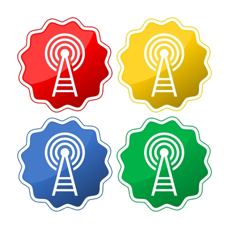 cell phone transmitter tower: Transmitter Icon Vector. Illustration