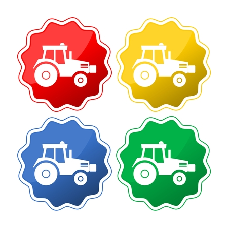 Vector isolated tractor icons