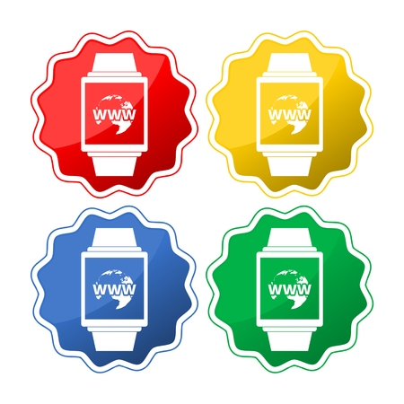 Smart watch icons. Mechanical clock time, stopwatch timer symbols Illustration