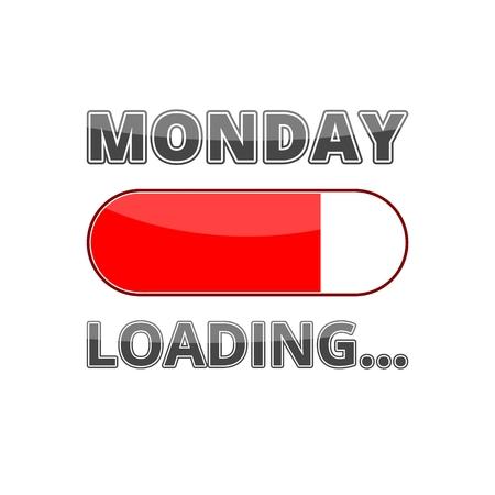 Barre de progression Chargement avec le texte: lundi Banque d'images - 72206815