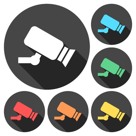 monitored: Security camera icon illustration