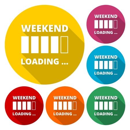 positiveness: Weekend loading. Business concept. Vector illustration. Illustration