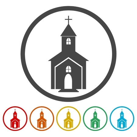 Church icon in circle, vector illustration Иллюстрация