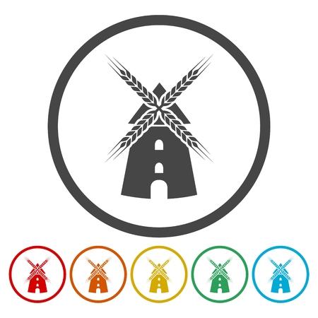 watermill: Windmill icon set Illustration