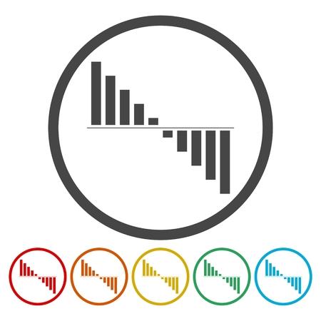 bellow: Negative cash flow concept icon set