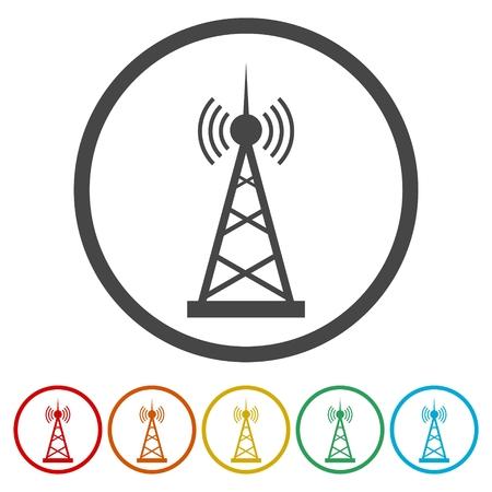 tv tower: Vector design of radio tower broadcast icon Illustration