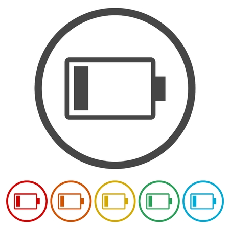 Empty battery icon, circle button, vector illustration