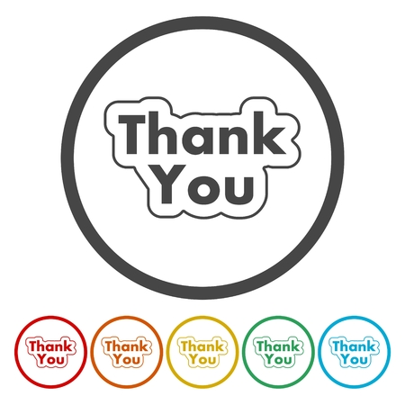 commendation: Round thank you icon