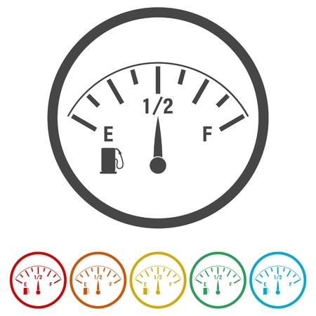 Kraftstoffanzeige auf weißem Hintergrund Standard-Bild - 72984042