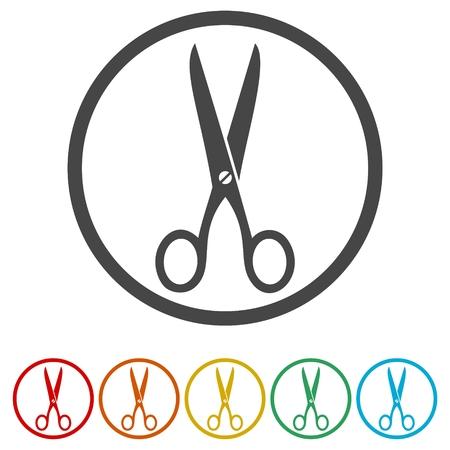 escuela infantil: Signo de icono de tijera. Diseño plano del icono de tijeras