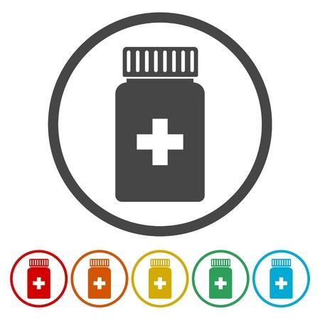 phial: Medicine bottle icon in circle. Vector illustration Illustration
