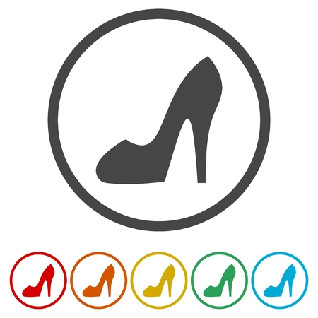 Woman shoes vector icon in flat style