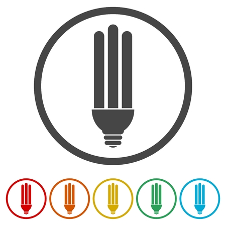 kilowatt: White energy saving lamp. Illustration on white background