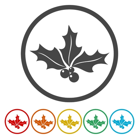 Holly berry. Single flat icon on the circle. Vector illustration