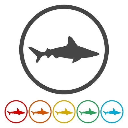 Silhouette, Swimming Shark icon set