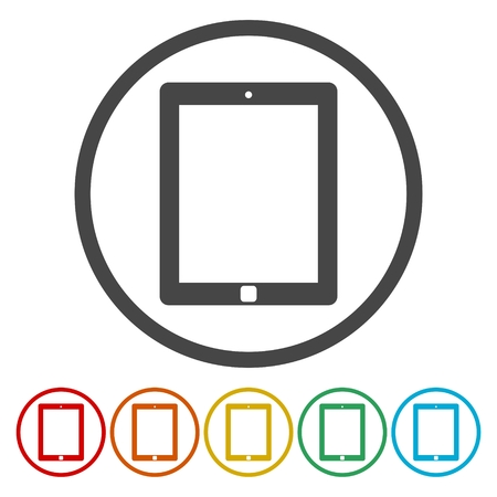 palmtop: Tablet PC. Single flat icon on the circle