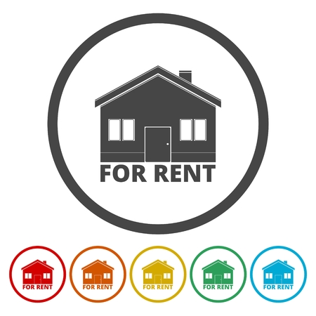 House for rent vector icon, circle flat design internet button