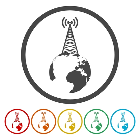 Artistic Vector design of radio tower broadcast icon Illustration