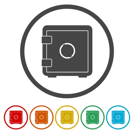 classified: Safe icon. Flat circle design. Vector illustration