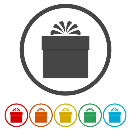 square tape: Set of gift boxes icons, vector illustrations