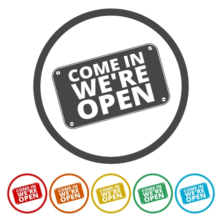 come in: Come in were open sign Illustration