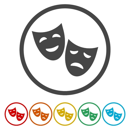 stage costume: Theater icon in circle with happy and sad mask . Vector illustration