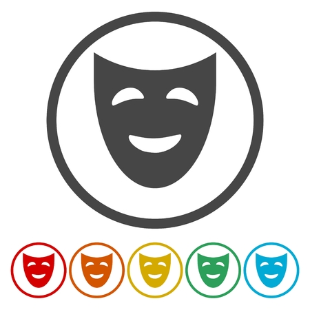 moods: Set of colored buttons mask theater vector icons
